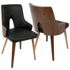 stella mid century walnut and black modern dining chair faux leather set of 2