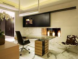 modern linear fireplace minimalist home office photo in miami with a stone fireplace surround and a cheap l shaped office desks
