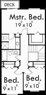 upper floor plan for 9920 narrow lot house plans small lot house plans 20