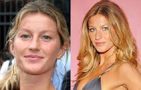 gisele bündchen looks younger and healthier without makeup on but could definitely use some eyebrow pencil