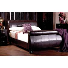 sweet dreams double 4ft6 chocolate brown faux leather sleigh bed frame home done
