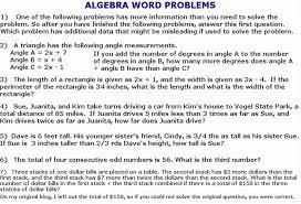 algebraic equations word problems worksheet