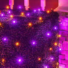 Net Lights For Bushes Halloween Themed Purple And Orange Net Lights For Wrapping