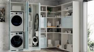 Laundry furniture Washing Machine Laundry Space Are Combined With The Washing Machine Base Unit With Seagull Grey Decorative Melamine Doors And Matching Coloured Plinth h 12 Cm Scavolini Usa Kitchen Cabinet Laundry Space Scavolini