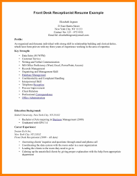 Resume Objective Receptionist Resume For Study