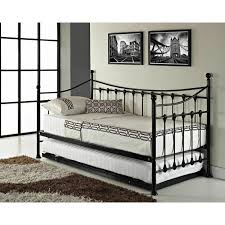 daybed with trundle metal black frame