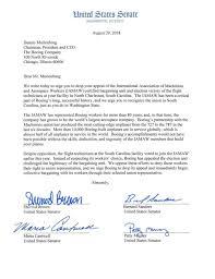 Us Senators Letter To Boeing Postandcourier Com