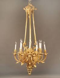 19th century gilt bronze twelve light chandelier