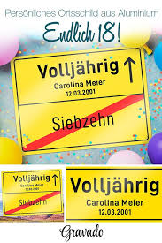 Personalisiertes Ortsschild Zum Geburtstag Volljährig Geschenke