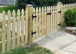 picket fence double gate. Pressure Treated Wood With Black Vinyl Post Caps And Double Gate Picket Fence R