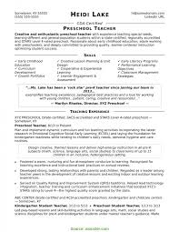 Valuable Sample Resume For Teachers Preschool Teacher Resume Sample