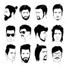 ひげと口ひげの男性髪型のセットですスタイリッシュな 80 年代のコレクション 90