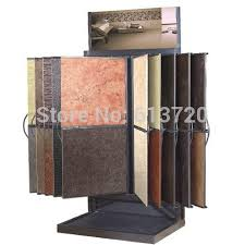 Wallpaper Display Stand Unique Double Sided Metal Flooring Exhibit Rack For Marble Wallpaper