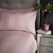 details about silentnight luxury sateen stripe duvet cover pillowcase set blush s d k sk