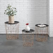 en casa metal basket side coffee couch table set of 3 copper