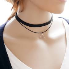 90 s 10mm black velvet choker necklace triangle pendant