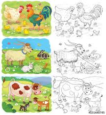 Set Of Cute Farm Animals Coloring Page Cute Hen Rooster Chicks
