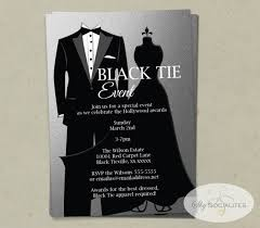 Silver Black Tie Invitation Instant Download Faux Foil Etsy