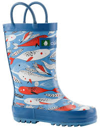 amazon com oakiwear kids rubber rain boots with easy on handles