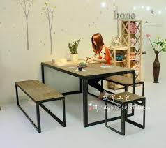 wrought iron and wood furniture. Solid Wood Furniture Table Desk Vintage Wrought Iron Benches Dinette American And O