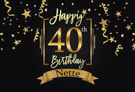 <b>Happy 40th Birthday</b> Party <b>Backdrop</b> Black Gold Little Stars Ribbons ...