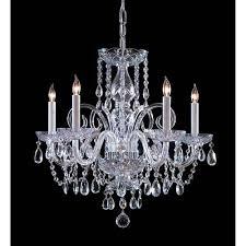 traditional crystal swarovski strass crystal polished chrome five light chandelier
