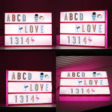 a4 size cinematic light box cinema led letter lamp party decor blue pink green