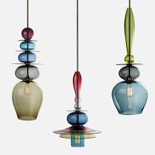 Unique And Colorful Pendant Light Made Of Stacked Glass Triptych Pertaining  To Stylish Household Colorful Pendant Lights Ideas