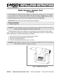 msd 8228 dodge late model coil 2 pin installation user manual 2 msd 8228 dodge late model coil 2 pin installation user manual 2 pages