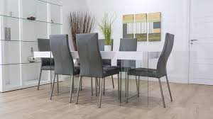 funky dining room furniture. white floating dining table and grey chairs funky room furniture