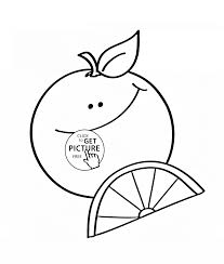Happy Cartoon Orange Fruit Coloring Page For Kids Fruits Coloring