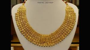 latest gold necklace designs with weight gold raniharam designs