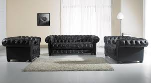 Your bookmark products. Paris 2 Modern Black Leather Sofa Set