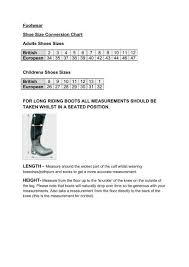 Sizing Guide For Footwear Geegees Equine