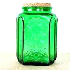 green glass canisters vintage glass canisters glass canister with glass lid vintage green glass storage jar