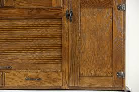 Enamel Top Cabinet Sold Hoosier Oak Kitchen Pantry Cupboard Roll Top 1915 Antique