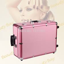 to singapore msia and other asia countries pink aluminium trolley cosmetic case with lights mirror and stands in cosmetic bags cases