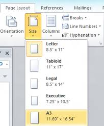 executive paper size different page size in the same document in word 2013 word 2010