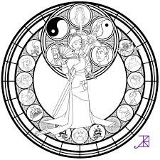 Stained Glass Coloring Pages Disney Mulan Coloringstar