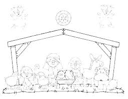 Coloring Pages Nativity Nativity Coloring Page Camelliacottageinfo