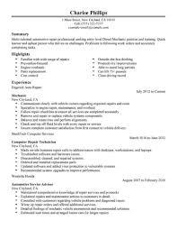 Automotive Mechanic Resume Templates Auto Mechanic Resume