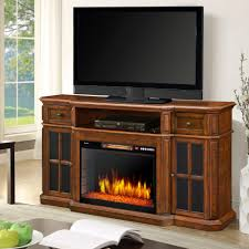 muskoka sinclair 60 in bluetooth media electric fireplace tv stand in aged cherry