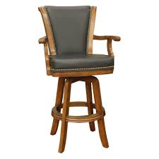wood swivel bar stools. L : Brown High Gloss Finished Oak Wood Swivel Bar Stool With Nails Accent And Armrest (930x930) Stools