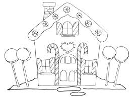 Small Picture Gingerbread House and Four Big Lollipop Coloring Page NetArt