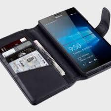 microsoft lumia 950. olixar genuine leather microsoft lumia 950 xl wallet case - black