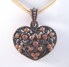 details about new casted filagree heart pendant necklace on 18 suede cord n2059
