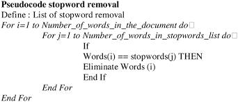 pseudocode of stopword removal