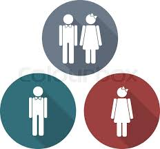 Man And Woman Symbols In Flat Style With Long Shadows Vector Signs Stunning Bathroom Sign Vector Style