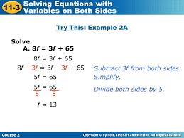 equations with variables on both sides c 11 solve