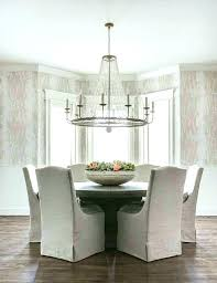 chandelier over dining table room chandeliers clear beaded a round wood with gray linen crystal modern lighting